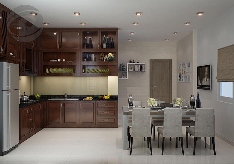 Thiết kế phòng bếp nhà ống tích hợp phòng ăn với thiết kế tủ bếp nhỏ gọn