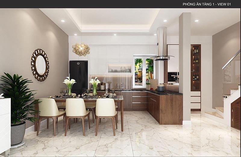 Mẫu thiết kế phòng bếp kết hợp phòng ăn cho nhà ống