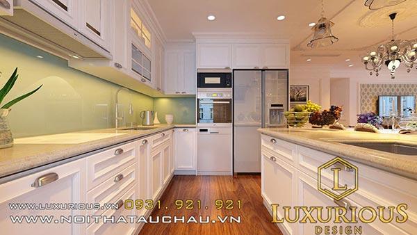Phòng bếp tân cổ điển mang đến không gian ấm cúng sang trọng và đẳng cấp
