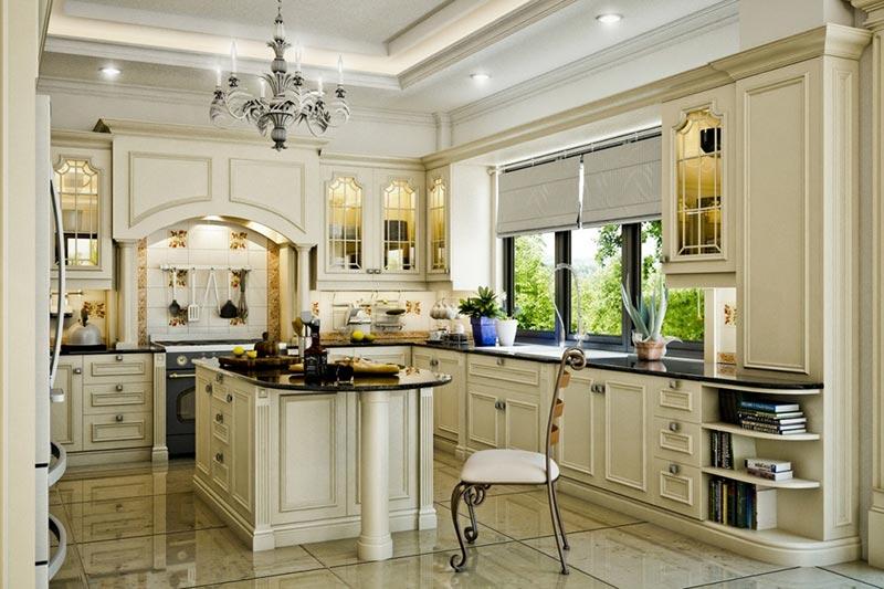 Phòng bếp mang phong cách Pháp cổ kính, lãng mạn và sang trọng