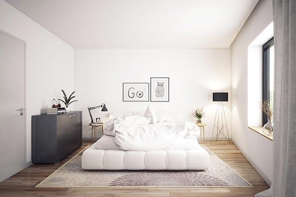 Phòng ngủ Bắc Âu đặc trưng với tone màu trắng
