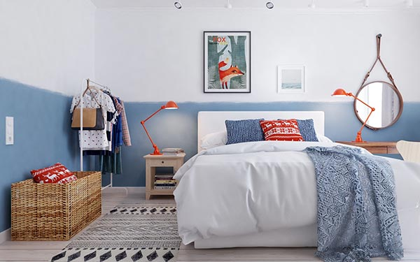 Phòng ngủ của bé đậm chất Bắc Âu phá cách với sự kết hợp của màu xanh