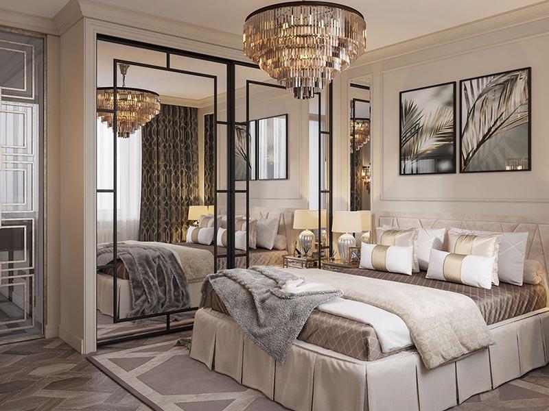 Điểm nổi bật trong thiết kế phòng ngủ Hoàng Gia là sự kết hợp của những đường cong quyến rũ, vẻ đẹp hài hòa và đồng điệu đến mê hoặc