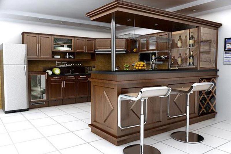 Thiết kế phòng bếp có quầy bar mini hiện đại và sang trọng