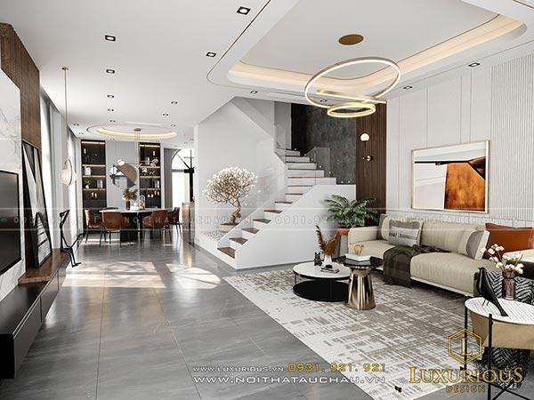 Mẫu thiết kế nội thất phòng khách hiện đại nhà biệt thự vườn