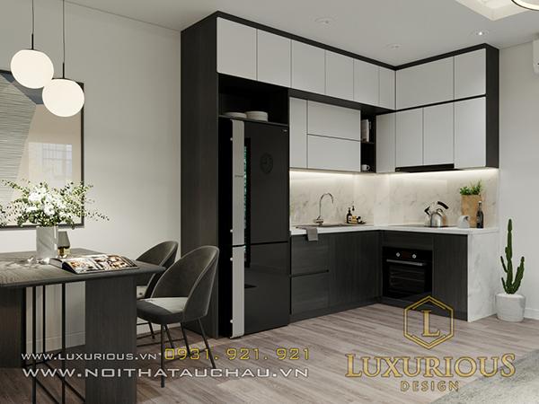 Phòng bếp sang trọng và ấm cúng với tone màu trung tính