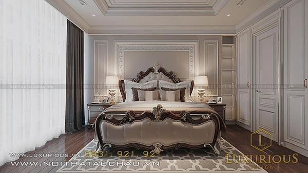 Thiết kế nội thất phòng ngủ chung cư tân cổ điển