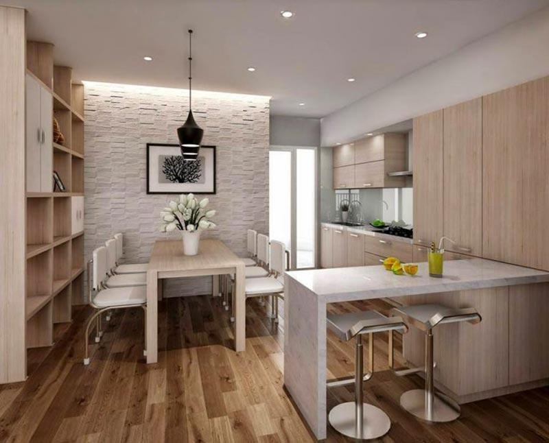Mẫu phòng bếp chung cư nhỏ tận dụng mọi ngóc ngách