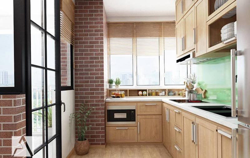Mẫu thiết kế phòng bếp chung cư chữ L tiết kiệm diện tích