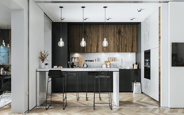 Lộng lẫy xa hoa sự khác biệt trong mẫu thiết kế phòng bếp bắc Âu này
