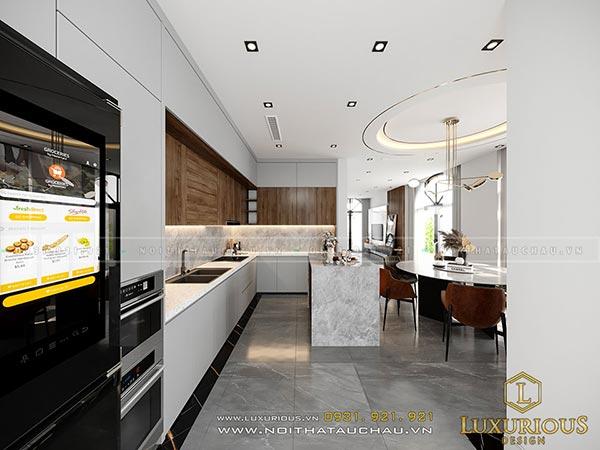 Mẫu thiết kế nội thất phòng bếp hiện đại cho nhà biệt thự