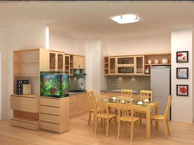 Mẫu thiết kế bếp kết hợp phòng ăn