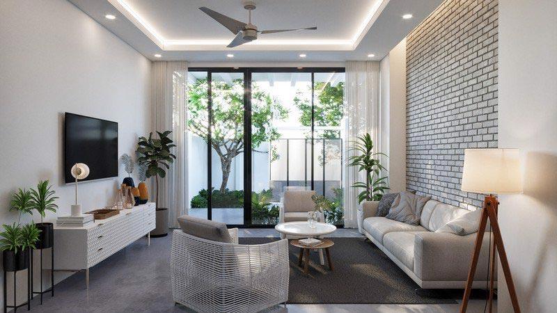 Phòng khách nhà phố 3m hiện đại và thông thoáng