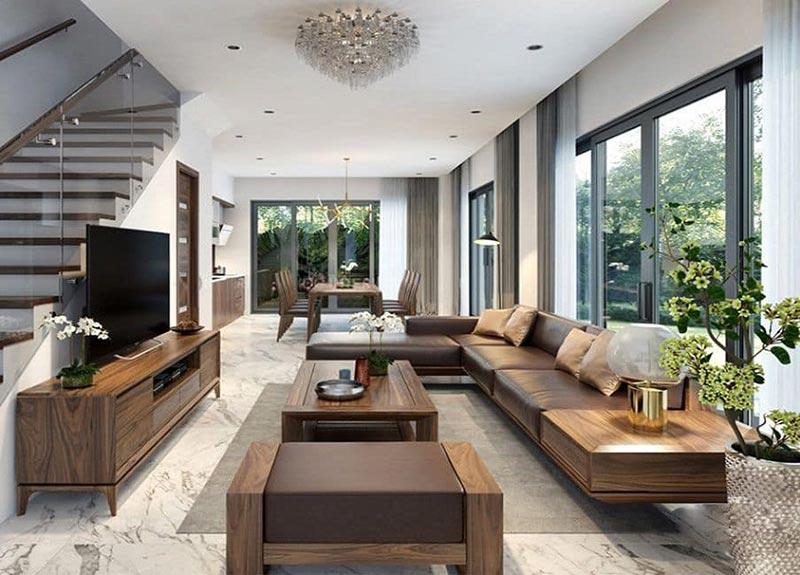 Thiết kế phòng khách nhà ống 5m theo phong cách Đồng Gia