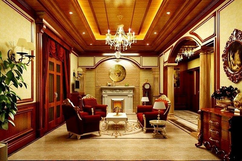 Nội thất nhà ống trần gỗ phong cách Hoàng Gia