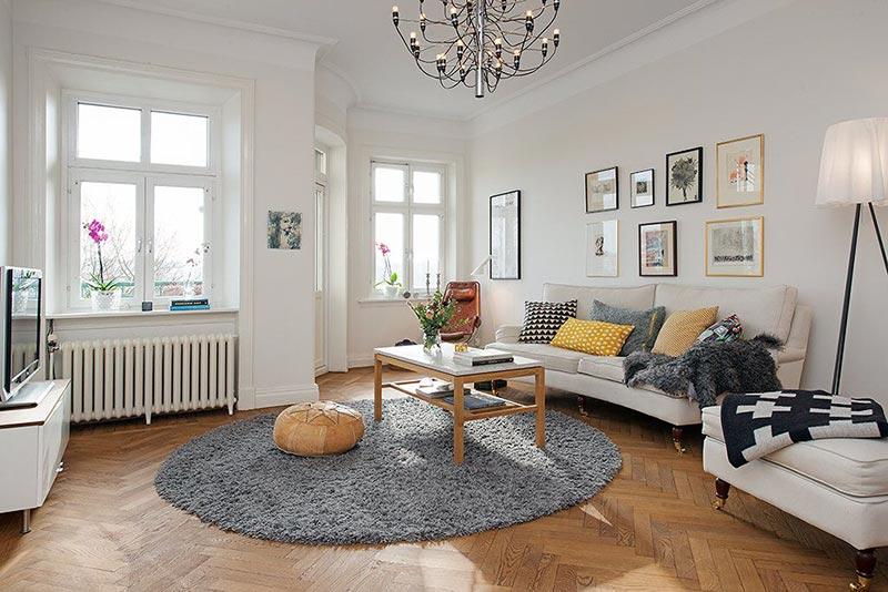 Thiết kế phòng khách với tone màu trắng chủ đạo