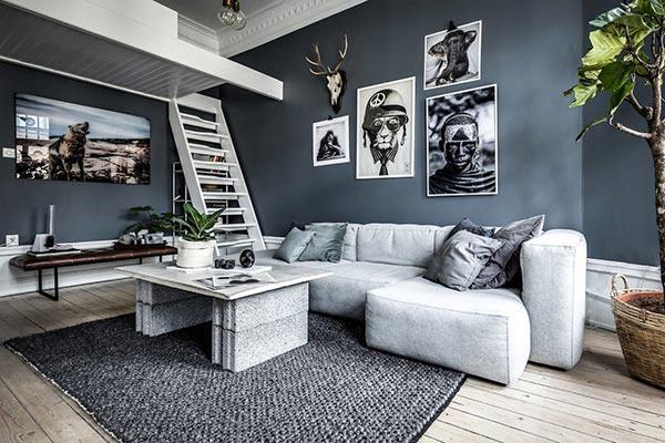 Phòng khách nhà phố phong cách Bắc Âu tone màu đậm