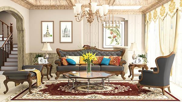Nội thất tân cổ điển gỗ tự nhiên là điển hình trong thiết kế này