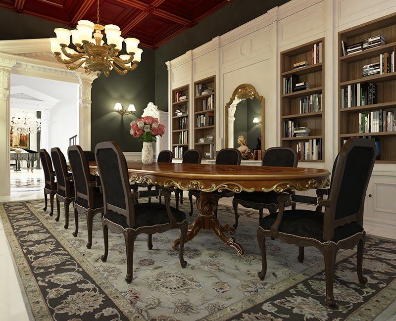 Thiết kế bàn ăn phong cách nội thất cổ điển Việt Nam