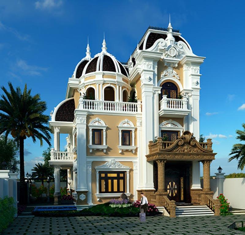 Mẫu thiết kế kiến trúc biệt thự Pháp cổ điển