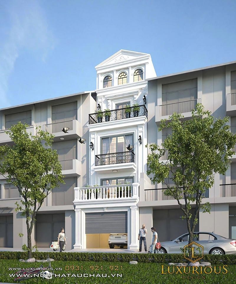 Mẫu kiến trúc nhà phố 5 tầng theo phong cách hiện đại
