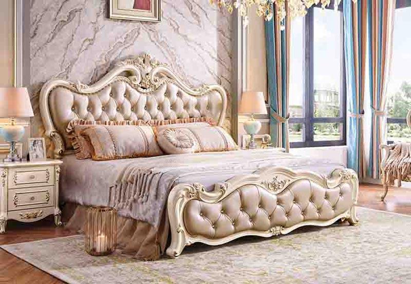 Mẫu thiết kế giường ngủ bọc da phong cách tân cổ điển