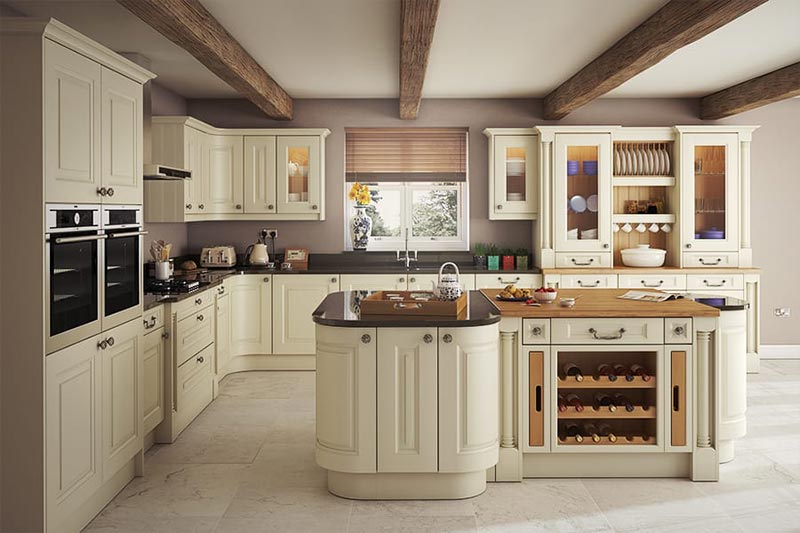 Tủ bếp kết hợp bàn đảo