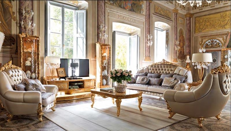 Nội thất phòng khách theo phong cách cổ điển Italia