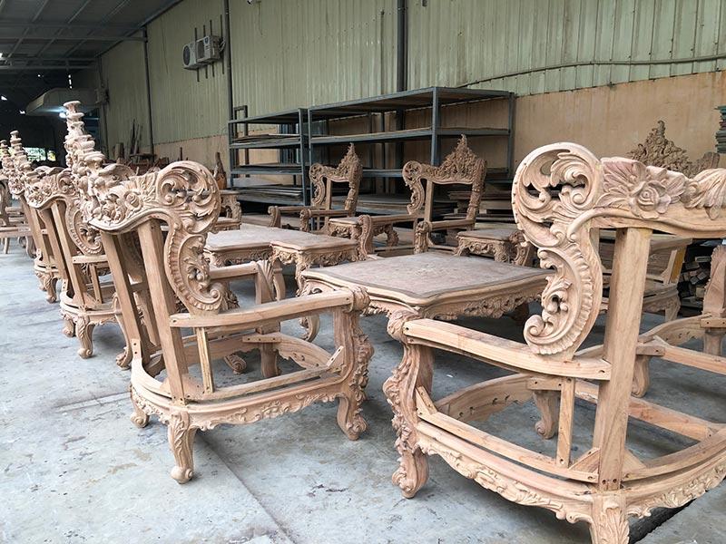 Phần khung sofa gỗ tân cổ điển