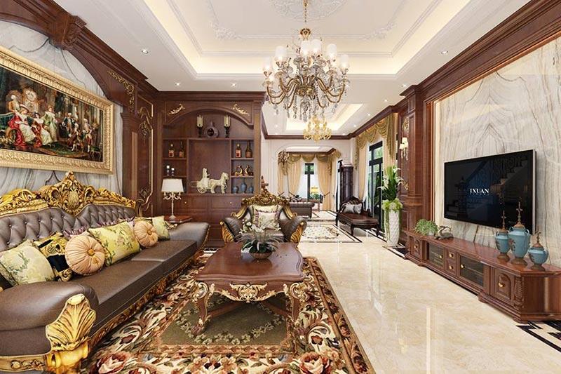 Không gian nội thất cổ điển Pháp với bố cục tỷ lệ hài hòa