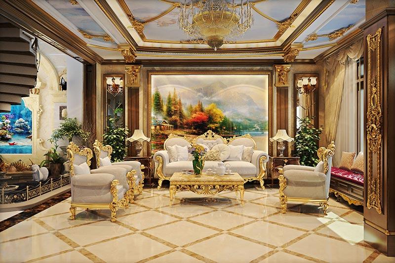 Thiết kế nội thất cổ điển Pháp quý tộc mạ vàng sang trọng