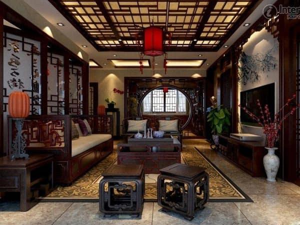 Mẫu thiết kế nội thất phòng khách cổ điển Trung Quốc