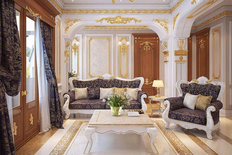 Mẫu sofa gỗ tân cổ điển cho phòng khách nhỏ