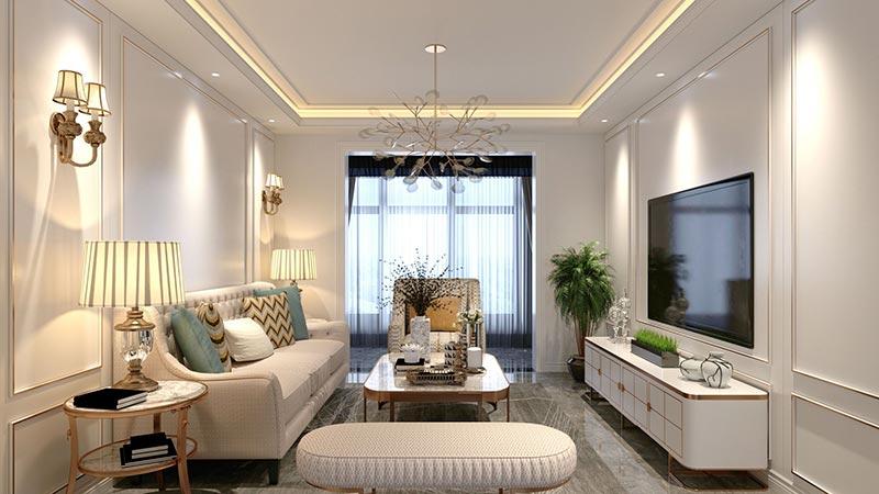 Bộ sofa phòng khách tân cổ điển nhà phố