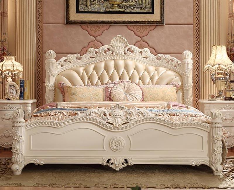 Giường ngủ phong cách tân cổ điển bằng gỗ sồi
