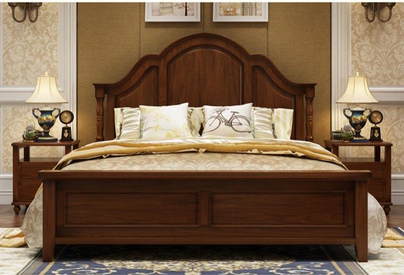 Giường ngủ gỗ óc chó phong cách tân cổ điển