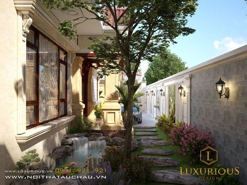 Thiết kế nội thất biệt thự Liền kề Geleximco tiểu cảnh xung quanh