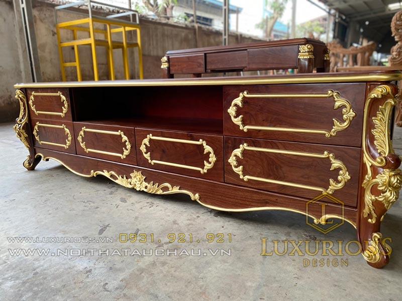 Gia công sản xuất kệ tivi gỗ tự nhiên
