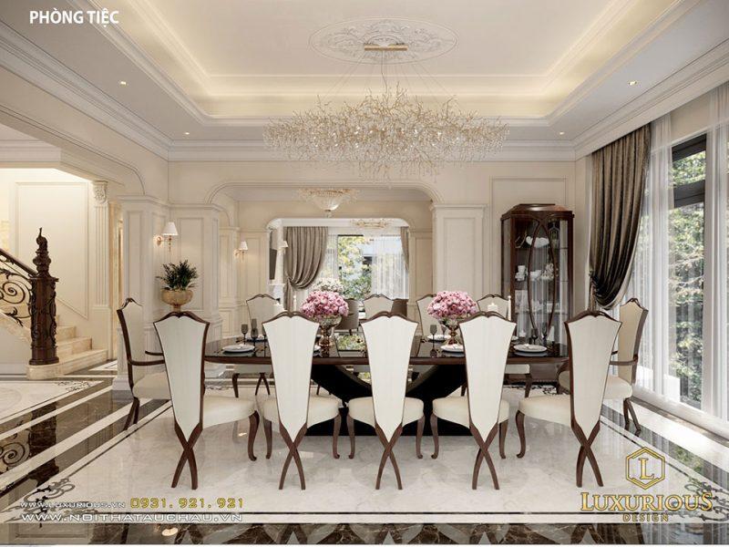 Mẫu bàn ghế phòng ăn sang trọng, quý phái cho biệt thự