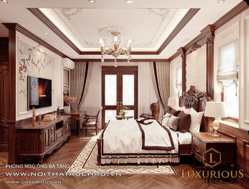 Thiết kế nội thất phòng ngủ ông bà - Phong cách cổ điển