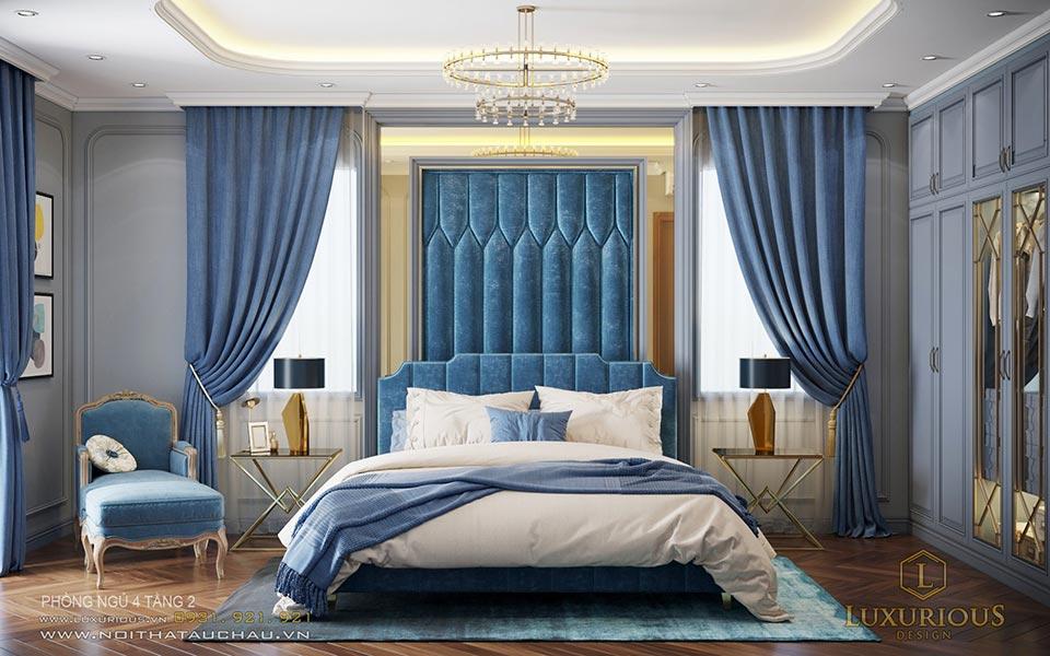 Phòng ngủ tân cổ điển màu xanh