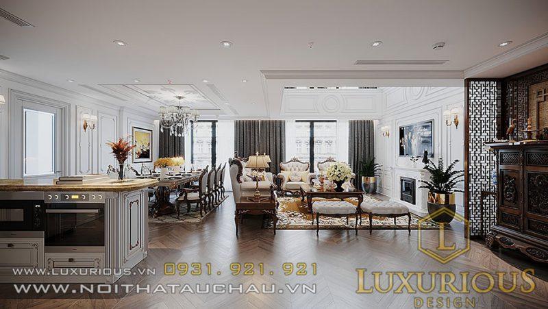 Mẫu thiết kế nội thất căn hộ Penthouse Sun Grandcity Tân Cổ Điển