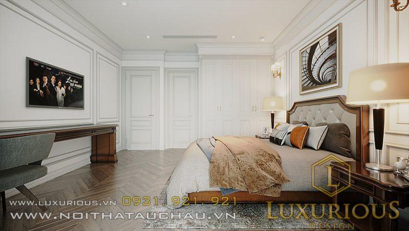 Phòng ngủ sử dụng tone màu nhẹ nhàng, tinh tế