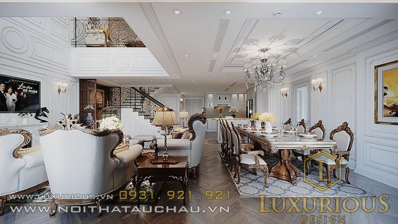 Mẫu thiết kế nội thất phòng bếp căn hộ Penthouse Sun Grandcity