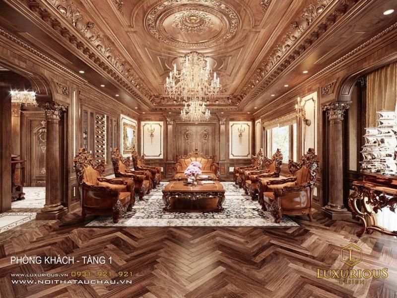 Thiết kế nội thất phòng khách biệt thự Châu Âu