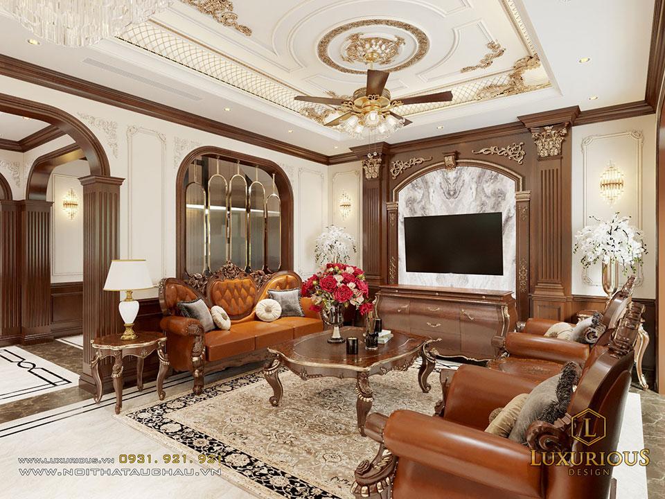Thiết kế nội thất phòng khách biệt thự liền kề Geleximco