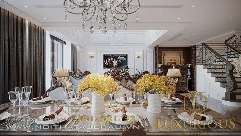 Thiết kế nội thất phòng bếp Penthouse Sun Grandcity tân cổ điển