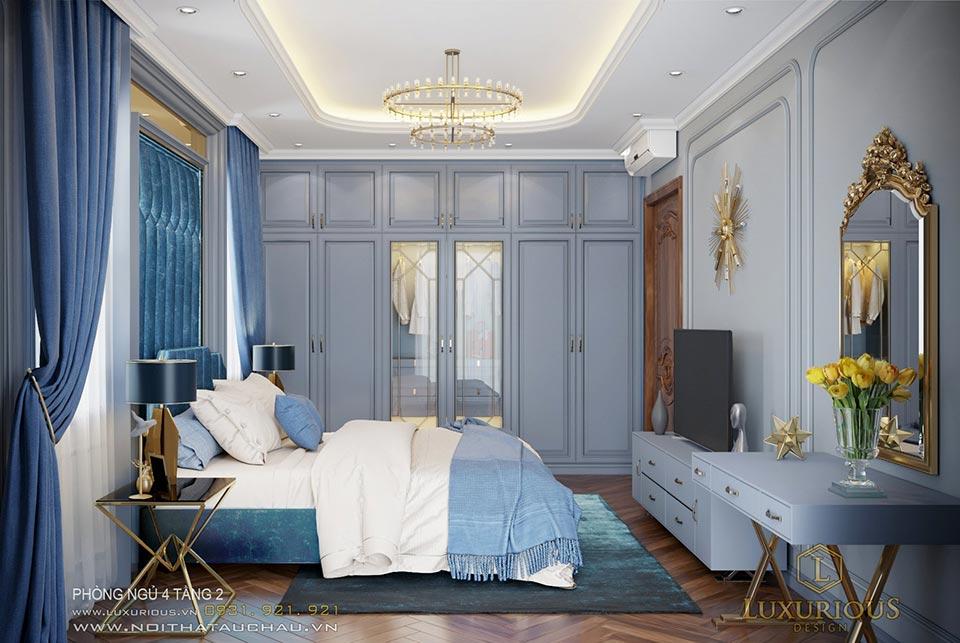 Thiết kế phòng ngủ tầng 2 tân cổ điển