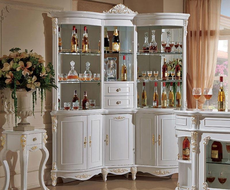 Tủ rượu phong cách tân cổ điển dáng đứng đẹp sang tọng cho phòng bếp