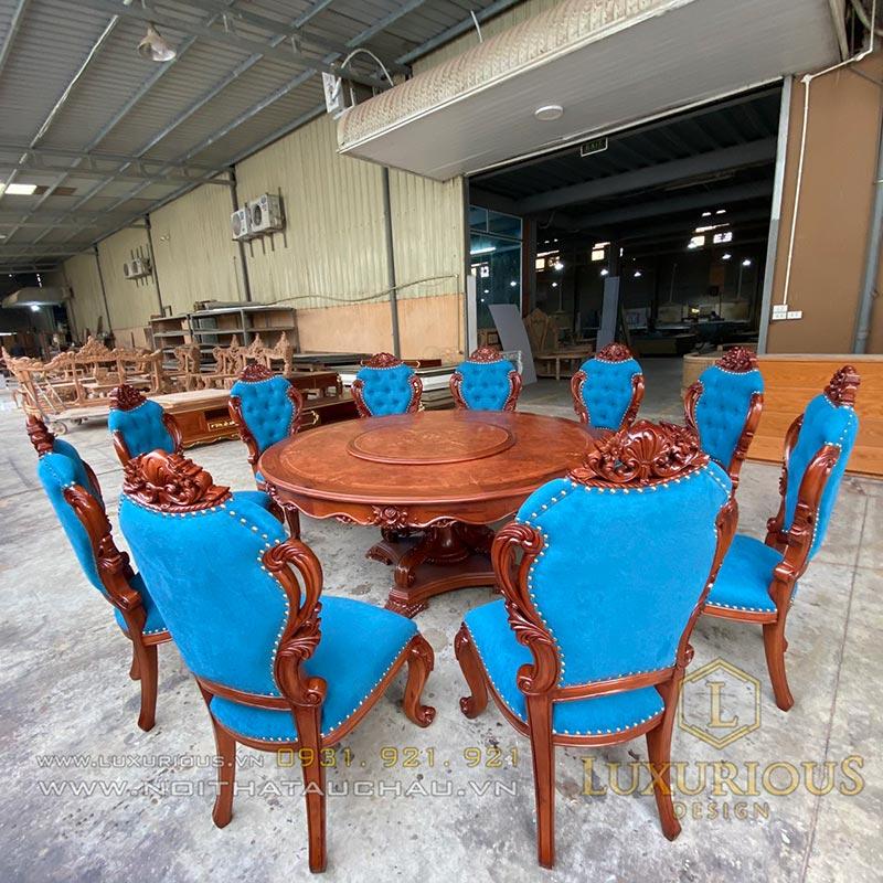 Bàn ghế ăn gỗ gõ đỏ tự nhiên
